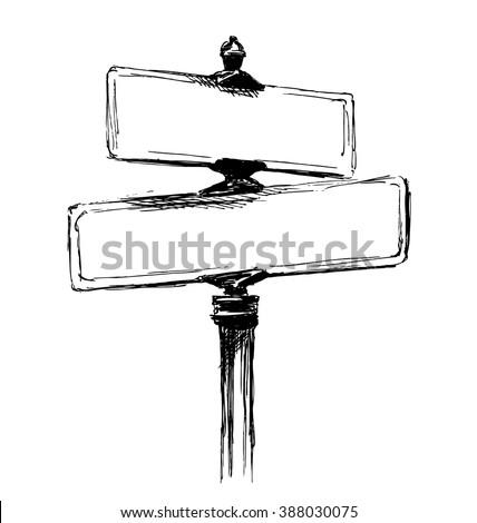Hand sketch street signs. Vector illustration