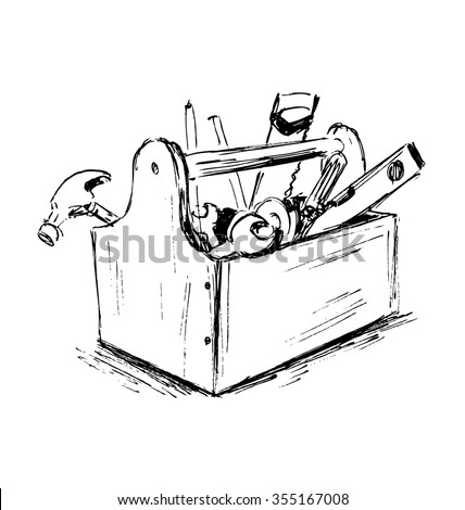 Hand sketch the box with tools