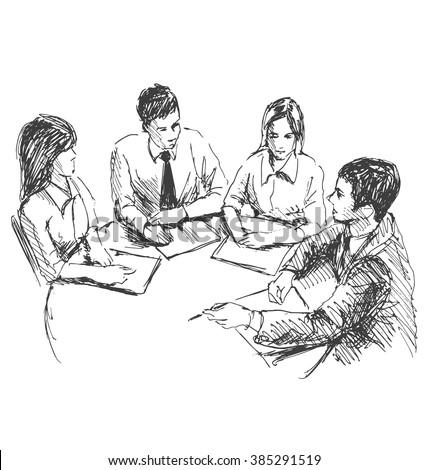 Hand sketch working meeting