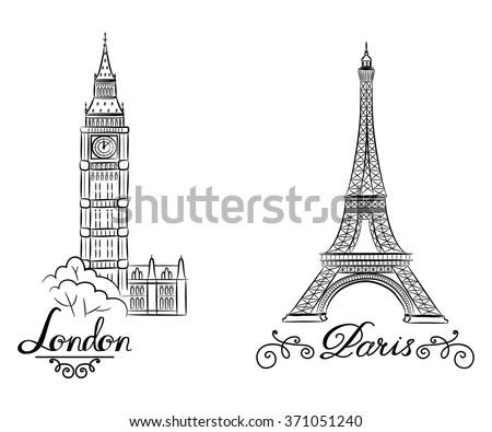hand sketch World famous landmark collection : Big Ben London, England and sketch of Paris, Eiffel Tower. Vector illustration