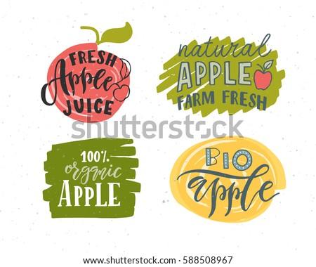 hand sketched apple lettering