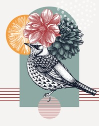Hand-sketched bird with autumn flowers illustration. Collage style design with fieldfare, florals, geometric shapes, and abstract elements. Can be used for print, poster, flyer, wall art, social media