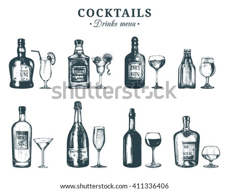 hand sketched bottles and