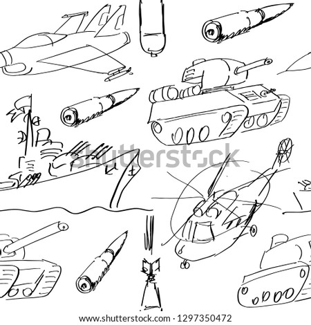 Hand sketched bullet gun, war ship, punzer, helicopter, plane. Seamless pattern on white background. Weapon ammo types in sketch style. Template for February 23- the Day of Defender of the Fatherland.