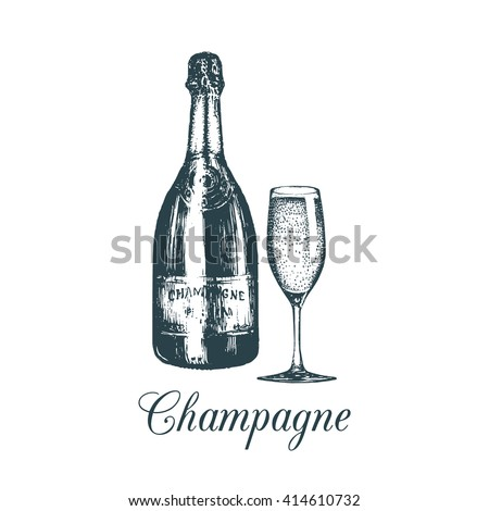 hand sketched champagne bottle