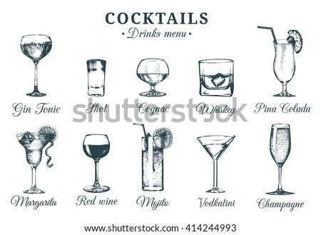 hand sketched cocktails glasses....