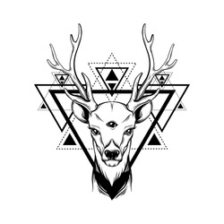 Hand sketched deer. Illustration of deer's  portrait with tree eyes. Alchemy, religion, spirituality, occultism, tattoo art, coloring books. Template for card, poster, banner, print for t-shirt.
