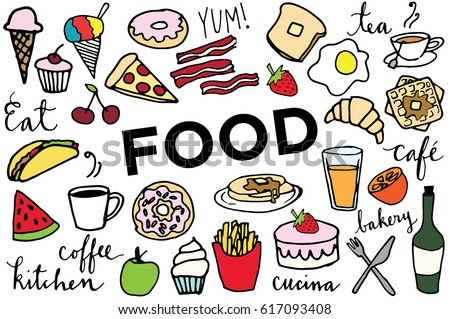 Hand Sketched Doodle Food Clip Art - Breakfast, Lunch, Dinner and Dessert