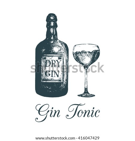 hand sketched gin bottle and
