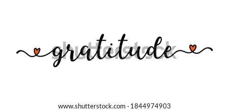 Hand sketched GRATITUDE word as banner. Lettering for poster, label, flyer, header, card, advertisement Stock fotó ©