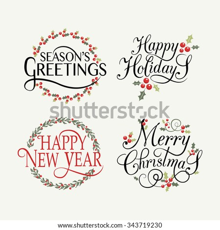 Hand sketched Happy Holidays badge and icon set. Happy New 2016 Year ...