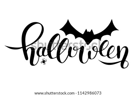 Hand sketched lettering Halloween with Bat and Spider drawing. Modern brush calligraphy. Halloween party invitation. Template as scary banner, design, print. Celebration lettering typography poster.