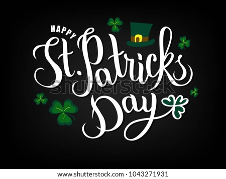 Hand sketched Saint Patrick's Day text logotype. St. Patricks Day celebration design on textured background. Lettering typography. St. Patricks Day icon. Beer festival decoration badge. Vector.