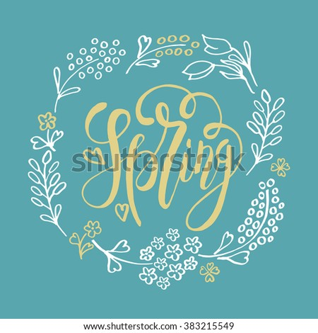 Hand sketched Spring text as logotype, badge and icon. Spring postcard, card, invitation, flyer, banner template. Spring lettering typography. Season\'s Greetings