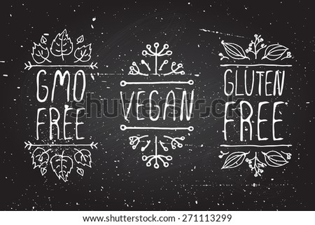 Hand-sketched typographic elements on chalkboard background GMO free Vegan Gluten free Suitable for ads signboards menu and web banner designs