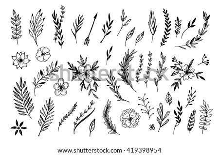 Hand sketched vector vintage elements ( laurels, frames, leaves, flowers, swirls and feathers). Wild and free. Perfect for invitations, greeting cards, quotes, blogs, Wedding Frames, posters and more.