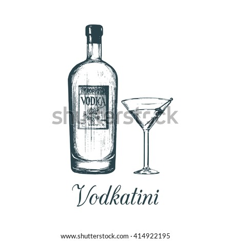 hand sketched vodka bottle and