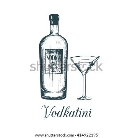 hand sketched vodka bottle and