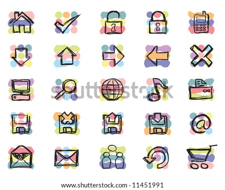 Hand Sketched web and computer related Icons