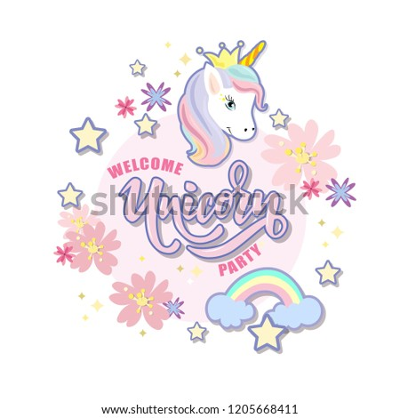 Hand sketched Welcome Unicorn Party text on textured background. Lettering typography. Great for logo, badge, greeting, card, stick cake topper, party, baby birthday, banner, invitation template.  #1205668411