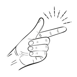 Hand snap fingers flick outline icon. Snapping gesture. Clicking sound signal. Magic click. Attention grabbing or its easy gesturing. OK or success expression symbol. Linear isolated vector drawing
