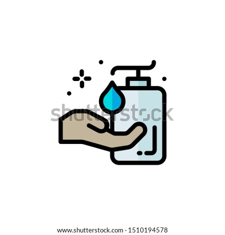 hand soap icon concept with flat color in modern Cleaning, fresh, hygiene and shine in house. Flat vector cartoon illustration. Objects isolated on a white background.