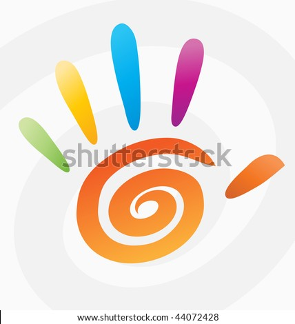 Hand 5 spiral vector color abstract print art circle element finger icon person green rainbow peace reach symbol concept unity web design paint background blue body clipart creative digits human arms