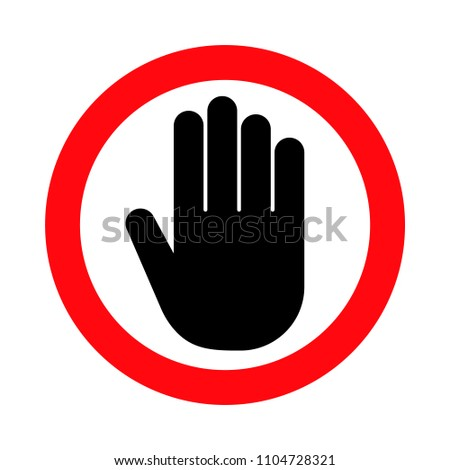 Hand stop sign, push icon, vector illustration