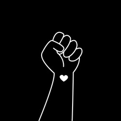 Hand symbol for black lives matter protest in USA to stop violence to black people. Fight for human right of Black People in U.S. America. Flat style vector