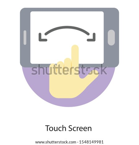Hand tap on screen, touch screen flat icon