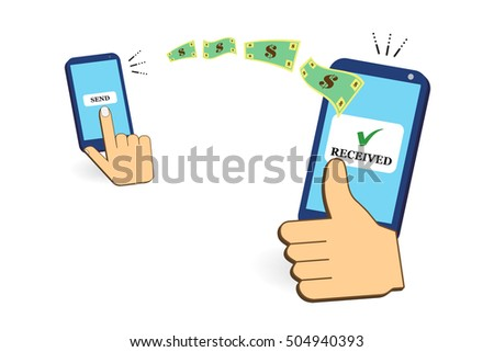 Hand tapping smart phone with banking payment app. Money transfer. Currency exchange. People sending and receiving money wireless with mobile phones. Flat style concept vector illustration. Remittance