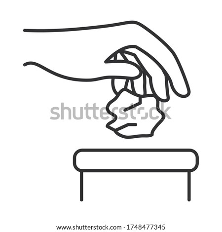 hand throwing away a paper towel icon over white background, line style, vector illustration Stockfoto ©