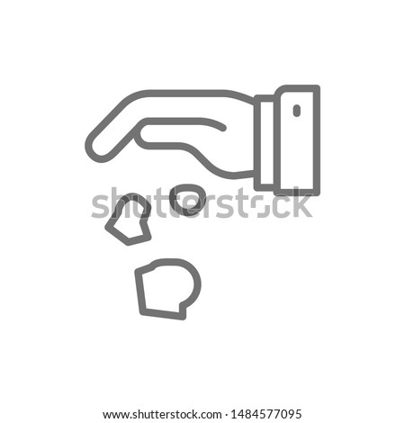 Hand throwing away garbage, crumpled paper line icon. Stockfoto ©