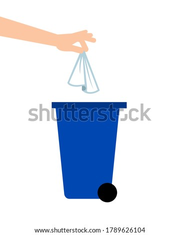 Hand throwing away tissue into a trash bin. Coronavirus prevention. Biohazard waste. Single use paper towels or napkins. COVID-19 safety measures. Personal hygiene. Vector illustration, flat, clip art Foto stock ©