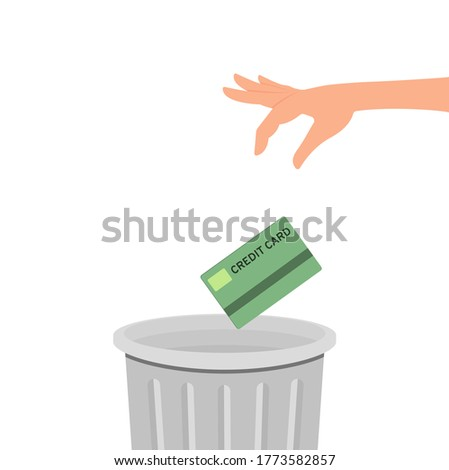 Hand throws a credit card into the trash can. Vector illustration, flat cartoon color design, eps 10. Stockfoto ©