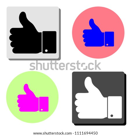Hand Thumb Up. simple flat vector icon illustration on four different color backgrounds