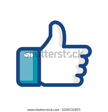 Hand thumbs up line color icon. Vector illustration.