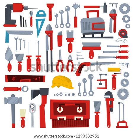 Hand tool set. Collection of equipment for repair. Saw and screwdriver, drill and level. Handyman tools. Isolated vector illustration
