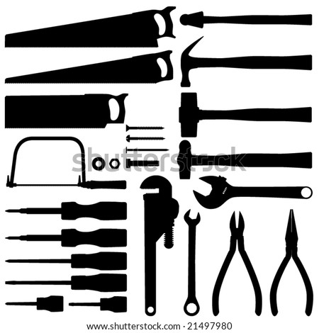 Hand tool silhouette collection vectors
