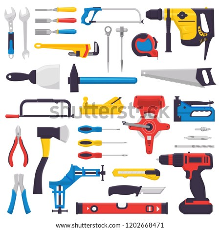 Hand tool vector construction handtools hammer pliers and screwdriver of toolbox illustration workshop set of carpenters spanner cutter and hand-saw isolated on white background