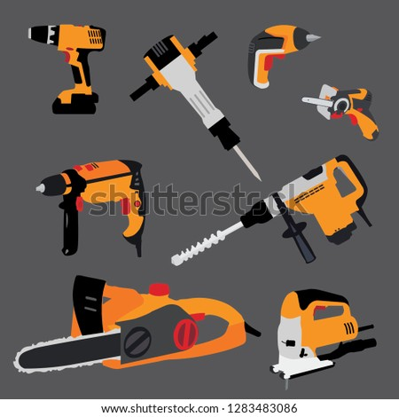 Hand tool vector, workshop set, toolbox illustration, background vector illustration