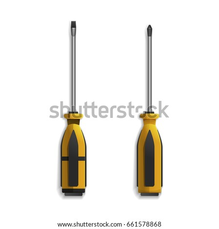 Hand tools for repair and construction. Realistic screwdriver isolated on white background. Vector illustration.