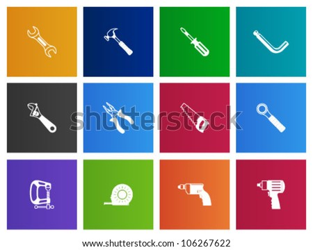 Hand tools icon series in Metro style