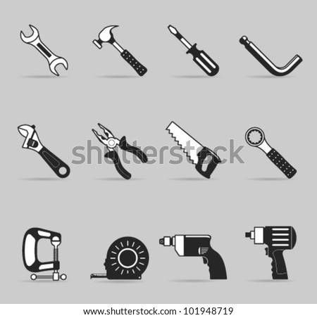 Hand tools icon set in single color. Transparent shadows & background placed on different layers.