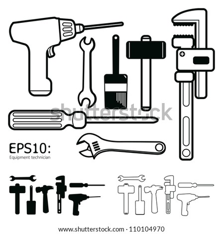 Hand tools icon set vector white background