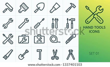 Hand tools icons set. Set of repair hand tools, wrench box, screwdriver case, hammer, service tools bag, construction tools isolated icons