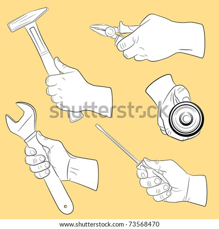 Hand tools in use(vector, CMYK)