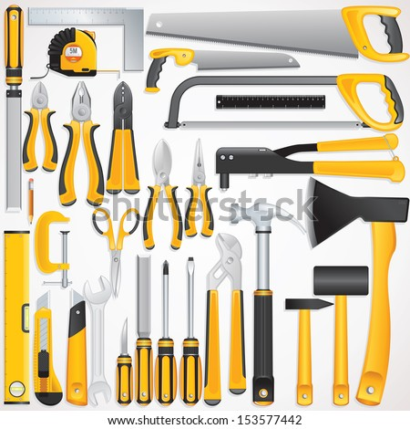 Hand Tools Kit Set Include Fastening Finishing Layout Striking Cutting Tools and Measuring Tools