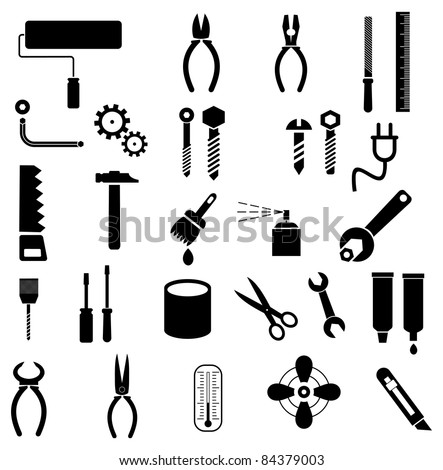 Hand tools - set of vector icons. Isolated symbols on white background.