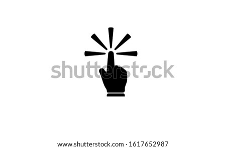 Hand touch icon in flat design vector illustration. Hand image is used as a symbol of this touch icon. Touch icon symbol consists of two colours, black and white. Hand touch icon perfect line style.